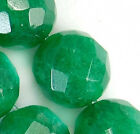 12mm Faceted Green Jade Round Beads 16pcs