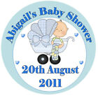 Blue Pram - Baby Shower Personalised Stickers - Favours