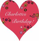 Personalised Party Bag Stickers Birthday Name Heart