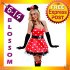 5196 Ladies Minnie Mouse Fancy Dress Costume + Gloves