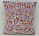 CUSHION COVERS SHABBY 'N' CHIC  LILAC PURPLE YELLOW SAGE PINK DARK GREEN LEAVES