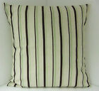 OATMEAL STRIPED CUSHION COVERS TRENDY SAGE GREEN DARK BROWN