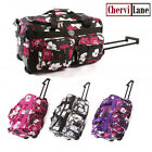 """18"""" Womens Girls Floral Hand Luggage Wheeled Travel Bag"""