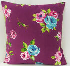 NEW VIBRANT PURPLE GREEN HOT PINK ROSES CUSHION COVERS