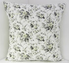CREAM CHARCOAL GREY FLOWERED SCATTER CUSHION COVERS SAME FABRIC FRONT & BACK