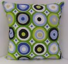 RETRO GREEN BLUE WHITE BLACK 60'S DESIGN CUSHION COVERS