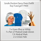 Scrubs Doctors Nurse Uniform Fancy Dress Costume Outfit