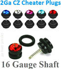 FAKE PLUGS C.Z. 16GA~1.2mm Shaft, 2GA~6mm Cheater Plugs