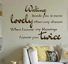 Waking Beside You . WALL QUOTE ART, wall  sticker  ,N31