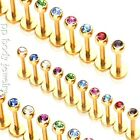 """1pc.16G, 14G~1/4"""" to 1/2"""" 14K Gold Plated Steel with CZ Gem Labret Monroe Tragus"""