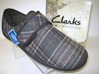 Clarks Mens Soft Cosy Slip On Slippers King Switch Brown Check Fitting G