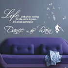 Large Dance In The Rain Wall Art Sticker / Quote / Wall Decal - Enjoy Music Clip