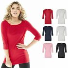 Bella GWEN 3/4 Sleeve Ladies Boatneck Scoop Neck Womens T-shirt Size S-2XL 6515