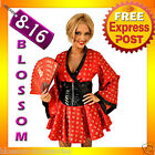 B88  Ladies Japanese Red Geisha Kimono Halloween Fancy Dress Costume Outfit
