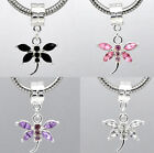 Rhinestone Dragonfly for European Charm Bracelets - choose colour