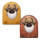 Tibetan Spaniel Wood Carved Dog Figure Key Leash Holder. Home Decor Dog Products