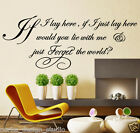WALL QUOTES IF I LAY HERE SNOW PATROL Lyric Wall Decal Stickers  WALL ART N37