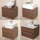 Bathroom Vanity Unit Walnut Furniture Wall Hung Mounted Countertop Basin Sink