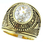 Clear Stones US Marines Military Gold EP Mens Ring