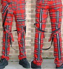 Heavy duty red tartan punk bondage trousers by Tiger of London