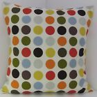 SPOTTED CUSHION COVERS SPOTS BLUE RED PURPLE YELLOW ORANGE BROWN GREEN GREY