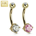 14K Solid GOLD BELLY BUTTON NAVEL Bar RING Body Piercing Jewelry *SOLID ROUND CZ