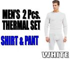 Mens 2pc White Thermal Waffle Knit Underwear Long John Top Bottom Set S~XXXL
