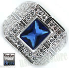 Blue Stone With Full Crystal Pave Rhodium EP Mens Ring Size 9 and 11