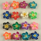 50 PCS Pick Color Polymer Clay Fimo Plumeria Flower Beads 20mm