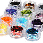 12 Big Hexagon Glitter Nail Art Deco Kit Acrylic UV Powder Dust Deco Stamp 1005