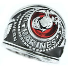 Marines Seal Red US Military Silver Rhodium EP Mens Ring