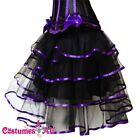 New Black with Purple Satin Burlesque Petticoat Costume Skirt