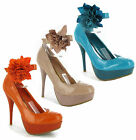 Platform High Heels Ankle Strap Flower Party Womens Court Shoes Size 3-8 UK