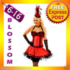 CC25 Ladies Red BURLESQUE COSTUME Corset Saloon Can Can MOULIN ROUGE Outfit