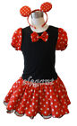 Minnie Mouse Princess Girls Costume Dress Ballet Leotard Tutu + Headband Age 1-9