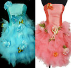 New Embroidery Satin Mesh 3D Flower Race Cocktail Prom Evening Formal Dress