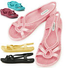 New Womens Aqua Summer Jelly Pretty Beach Sandals Shoes Multi colored