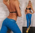 womens skinny jeans style trousers slim fit sexy new redial blue crouched + belt
