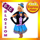 F85 Ladies Mad Hatter Fancy Dress Up Tea Party Alice In Wonderland Hens Costume