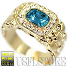 Mens Simulated Aquamarine CZ 18kt Gold Plated Ring