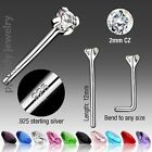 2pc. 20g .925 Sterling Silver 2mm CZ Prong Set Straight Nose Stud (Choose color)