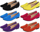 WOMEN'S FAUX SUEDE LOAFERS SLIPPERS MOCCASSINS SLIP-ON PUMP SHOES UK 3-8