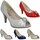 LADIES WOMENS DIAMANTE BRIDAL BRIDESMAID PEEPTOE PARTY SATIN GOING OUT SHOES 3-8