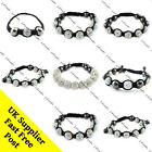 AB White Crystal Disco Ball Charm Bead Macrame Wrap Bracelet Wedding Prom Bridal