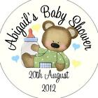 Personalised Baby Shower Circular Stickers Labels - Favours - Cute Bear Green
