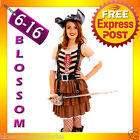 G27 Ladies Caribbean Pirate Swashbuckler Fancy Dress Halloween Costume & Hat