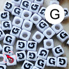 """G"" White Square Alphabet Letter Acrylic Plastic 7mm Beads 37C9129-g"