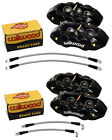 WILWOOD CALIPER,PAD,& LINE KIT,6 PISTON FRONT,4 REAR,65-82 CORVETTE C-2,C-3,BLK.