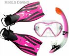 TBF SILICON FULL MASK + SNORKEL + FINS SET flipper PINK