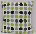 KIWI GREEN BLACK STONE GREY SPOTTED DOTTY 60s STYLE FABRIC WITH A BLACK BACKING